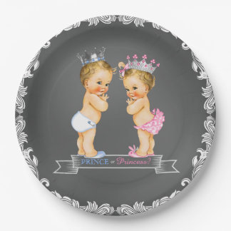 Blonde Prince and Princess Chalkboard Baby Shower Paper Plate
