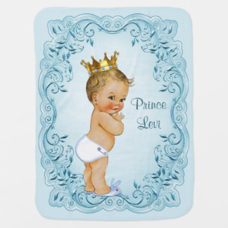 Blonde Prince Blue Leaves Personalized Receiving Blankets