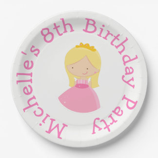 Blonde Princess and Dragon Birthday Party 9 Inch Paper Plate