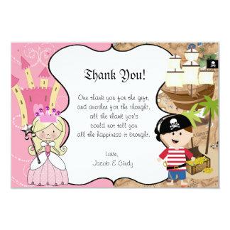 Blonde Princess & Pirate Party Thank You Card 9 Cm X 13 Cm Invitation Card