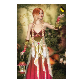 Blonde Red Hair Girl with Butterfly Stationery Design