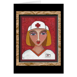 Blonde RN - folk art nurse greeting card