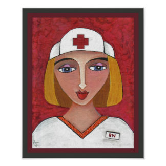 Blonde RN - nursing nurse print