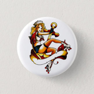 Blonde Roller Girl Sailor 3 Cm Round Badge