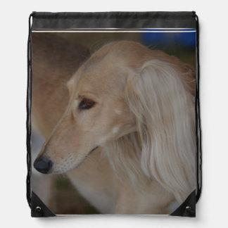 Blonde Saluki Drawstring Bag