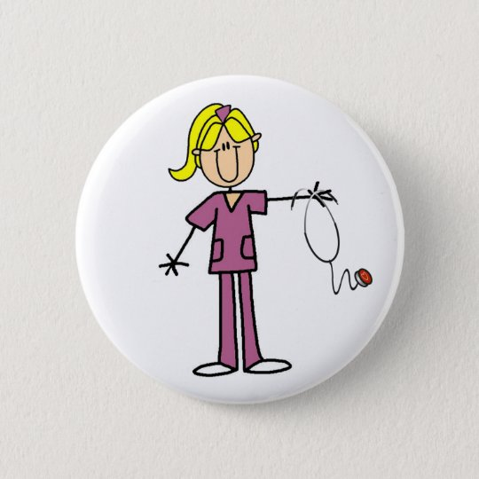 Blonde Stick Figure Nurse Button