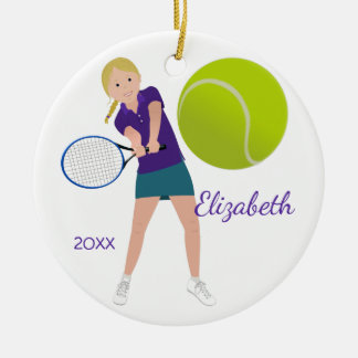 Blonde Tennis Player Keepsake Ornament