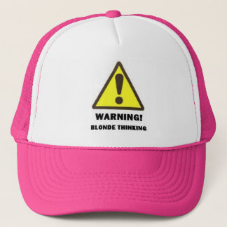 blonde thinking trucker hat