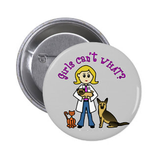 Blonde Veterinarian Girl 6 Cm Round Badge