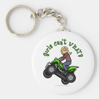 Blonde Woman ATV | Four Wheeler Driver Basic Round Button Key Ring