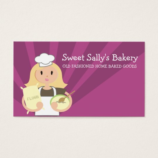 Blonde woman baking chef flour business cards