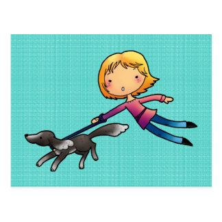 Blonde woman Dog walking Postcards