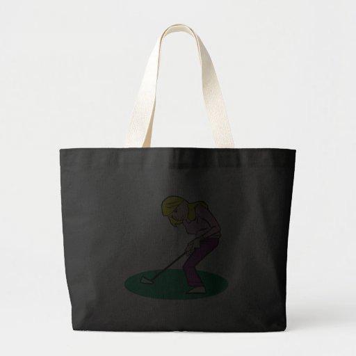 Blonde Woman Golfer Bags