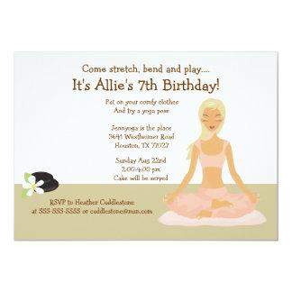 Blonde Yoga Girl Stretch & Play Birthday Party 5x7 13 Cm X 18 Cm Invitation Card