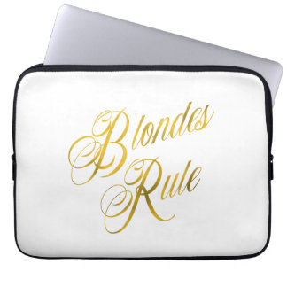 Blondes Rule Quote Faux Gold Foil Metallic Blonde Laptop Computer Sleeves