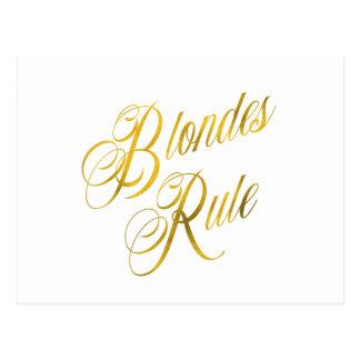 Blondes Rule Quote Faux Gold Foil Metallic Blonde Postcard