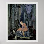 Blondine and the Tortoise  Fairytale Illustration Poster
