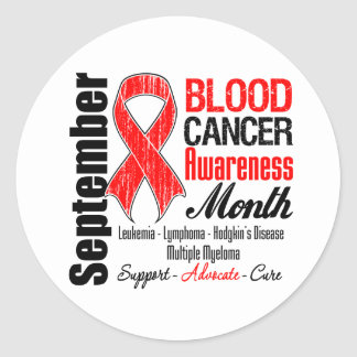Blood Cancer Awareness Month Red Ribbon Round Sticker