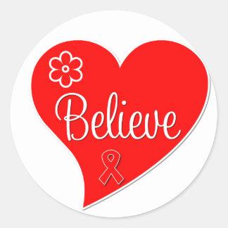Blood Cancer Believe Heart Round Stickers