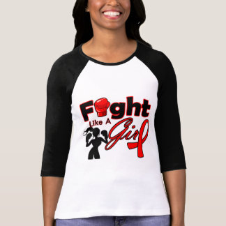 Blood Cancer Fight Like A Girl Silhouette T-shirts