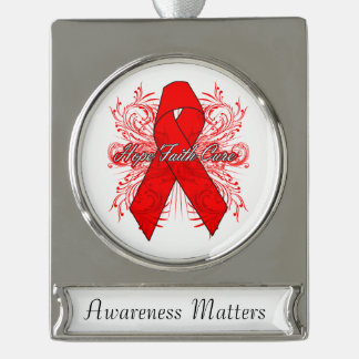 Blood Cancer Flourish Hope Faith Cure Silver Plated Banner Ornament