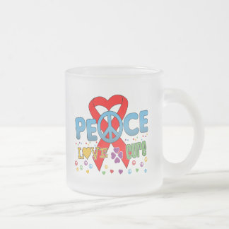 Blood Cancer Groovy Peace Love Cure Frosted Glass Mug