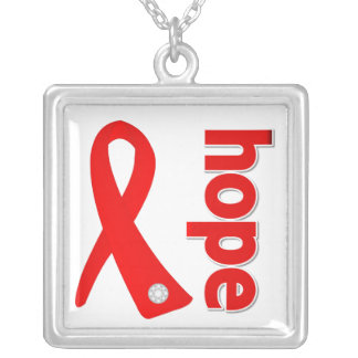 Blood Cancer Hope Red Ribbon Square Pendant Necklace