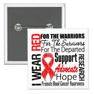 Blood Cancer I Wear Red Ribbon TRIBUTE Pins