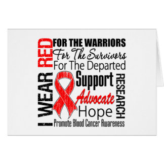 Blood Cancer I Wear Red Ribbon TRIBUTE Card