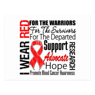 Blood Cancer I Wear Red Ribbon TRIBUTE Post Cards