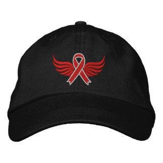 Blood Cancer Red Ribbon Wings Baseball Cap