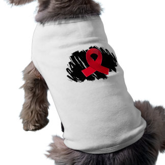 Blood Cancer Red Ribbon With Scribble Dog T-shirt