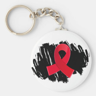 Blood Cancer Red Ribbon With Scribble Keychains