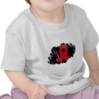 Blood Cancer Red Ribbon With Scribble Tee Shirts