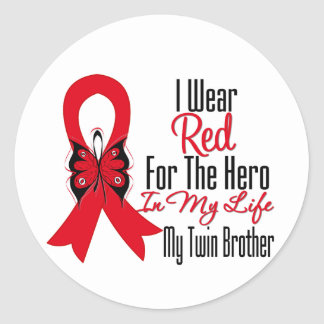 Blood Cancer Ribbon Hero in My Life Twin Brother Round Stickers