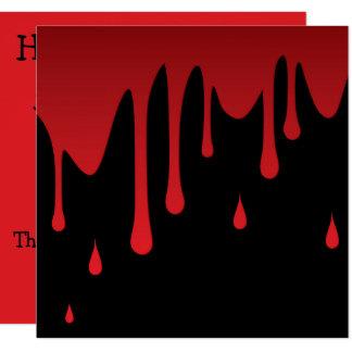 Blood dripping 13 cm x 13 cm square invitation card