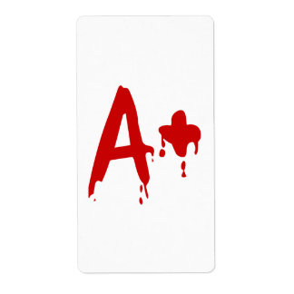 Blood Group A+ Positive #Horror Hospital Shipping Label