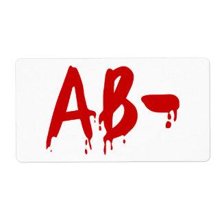 Blood Group AB- Negative #Horror Hospital Shipping Label
