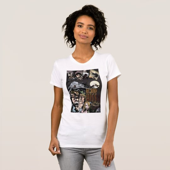 Blood Kiss Womens T-Shirt with Tom Mandrake Poster