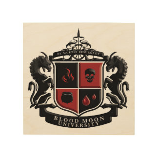 Blood Moon University School Crest Wood Print