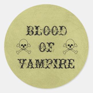 Blood Of Vampire Vintage Halloween Potion Label Round Sticker