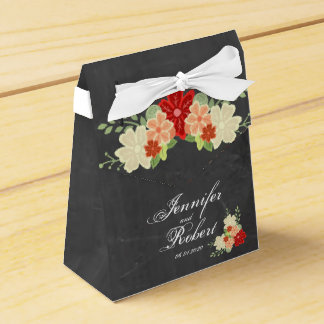 Blood Orange Flower Chalkboard Wedding Favor Box Favour Box