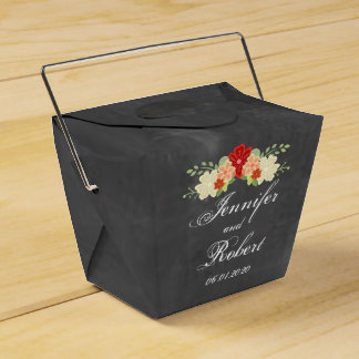 Blood Orange Flower Chalkboard Wedding Favor Box Favour Boxes