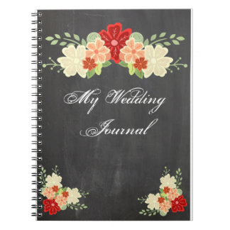 Blood Orange Flower Chalkboard Wedding Journal