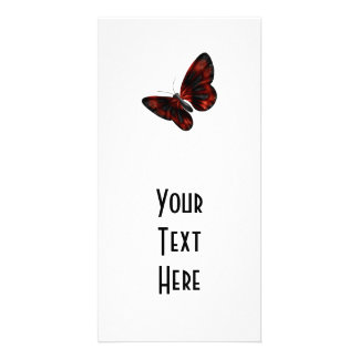 Blood Red Black Winged Butterfly Flying Picture Card