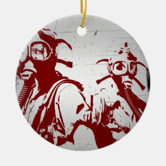 Blood Red Gas Masks Christmas Tree Ornaments
