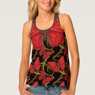 Blood Red Glider Butterfly Fractal Tank Top