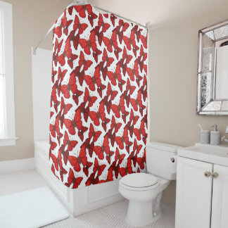 Blood Red Glider Butterfly Shower Curtain