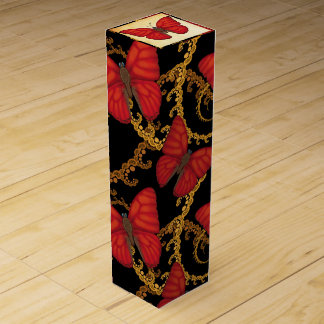 Blood Red Glider Butterfly Wine Box