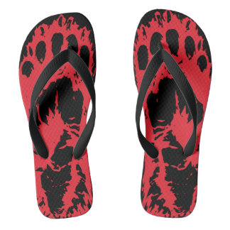 Blood Red Grizzly Bear - Claw Flip Flops